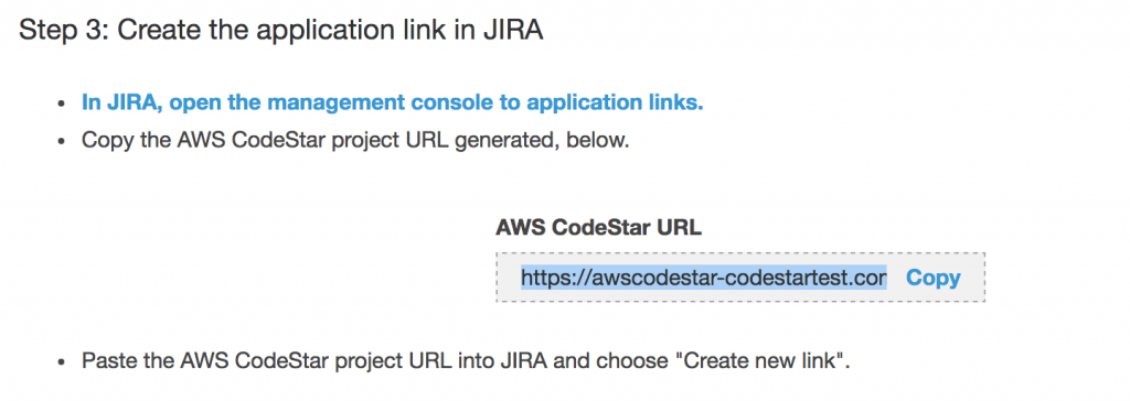 CodeStar - JIRA とのアプリケーションリンクの設定