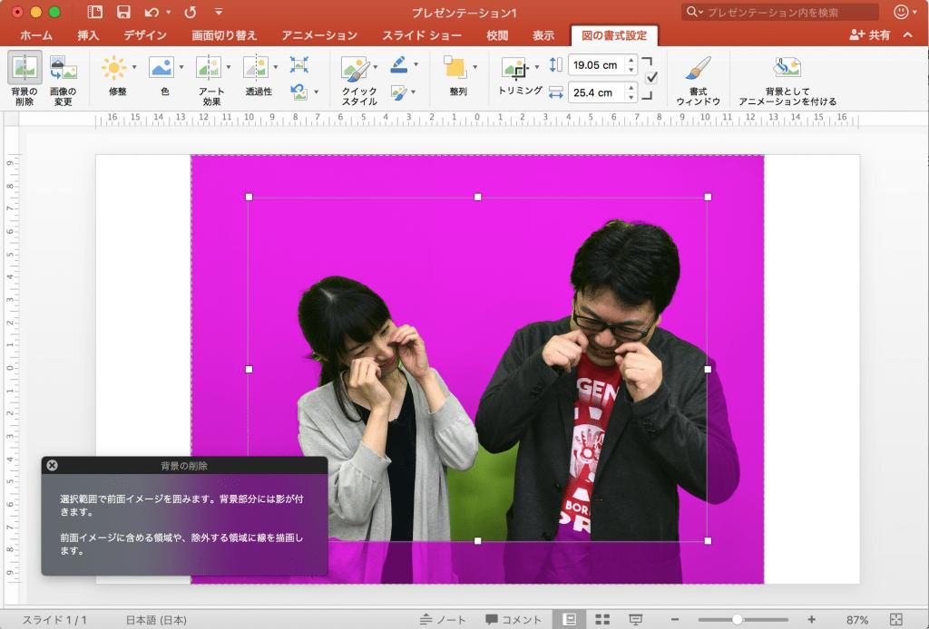 背景の削除モード (PowerPoint)