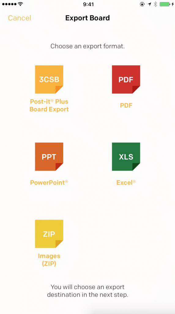 Post-it Plus: エクスポート